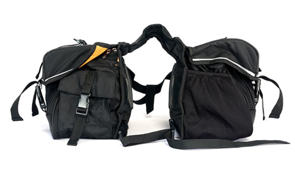 Black saddlebag for motorcycle